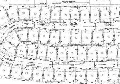 The plat created by a lot split survey - depicts the divisions in a housing development.