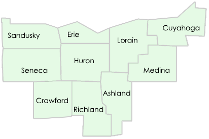 A map depicting Vector Surveying's service area: Lorain, Erie, Cuyahoga, Huron, Ashland, Medina, Crawford, and Richland, Seneca, and Sandusky counties.